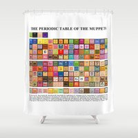 muppets Shower Curtains featuring The Periodic Table of the Muppets by Mike Boon
