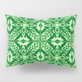Moroccan Tile, Emerald and Pastel Green Pillow Sham