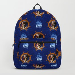 Ocean Blue Jolly Roger Pirate Wheel Backpack