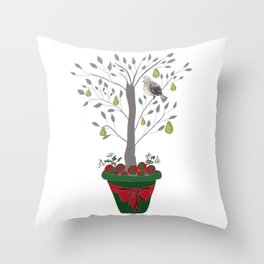 12 Days of Christmas Partridge in a Pear Tree Throw Pillow