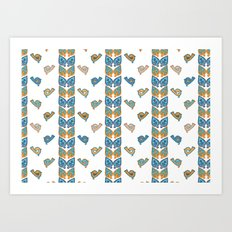Leaves & Birds Pattern Art Print