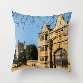 Cotswold Gatehouse & Church. Throw Pillow