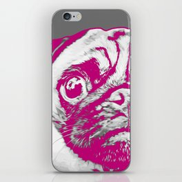 Sweet pug in pink and gray. Pop art style portrait. iPhone Skin