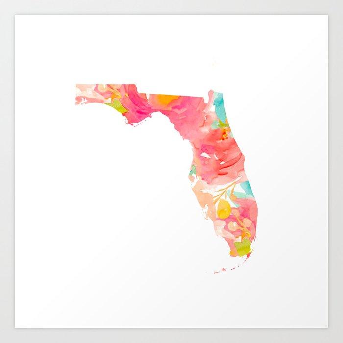 Florida Floral map Kunstdrucke