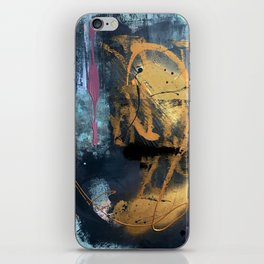 Melody: a vibrant, colorful abstract piece in blue, purple, gold, and black iPhone Skin