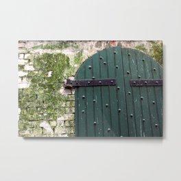 Alcatraz Wooden Door Metal Print