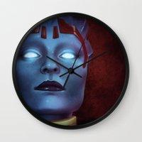 mass effect Wall Clocks featuring Mass Effect: Samara by Ruthie Hammerschlag