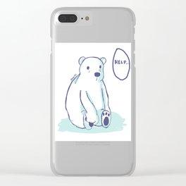 Sad Polar Bear Clear iPhone Case