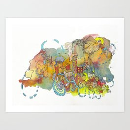 Village of Portraits Abstract Landscape Watercolor Illustration Painting Art Print