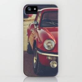 Triumph spitfire, english car by the beach in italy, old car and a boat, for man cave decor iPhone Case