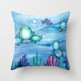 Bitty Sea Turtles Throw Pillow