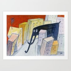 elephant in the city Art Print