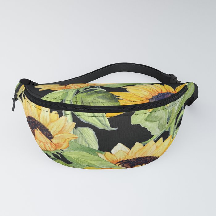 Sunflowers on black Fanny Pack