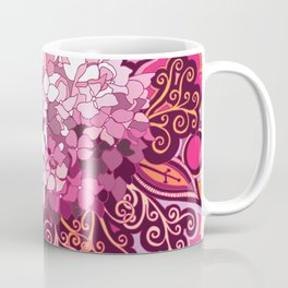 zentangle inspired Hortensia_rose pink doodle Coffee Mug