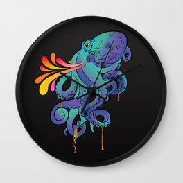 Neon Squid Wall Clock