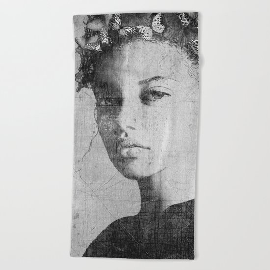 PORTRAIT (Woman with butterflies) Beach Towel