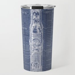 Apollo 11 Saturn V Blueprint in High Resolution (dark blue) Travel Mug