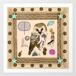 Woodland Bohemian Owl, Forest Animal, Woodland Creatures Art Print