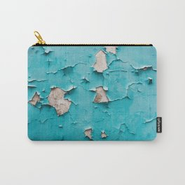Old vintage blue cracked peeling off wall texture - abstract background illustration Carry-All Pouch