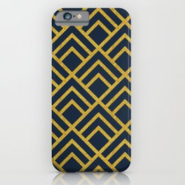 Gold & Navy Art Deco, Triangle Pattern iPhone Case