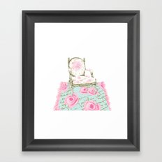Shabby Chic Rug and French Chair Framed Art Print