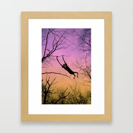 Monkey in a tree - color orange/pink Framed Art Print