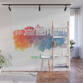 Las Vegas Nevada Skyline colored Wall Mural