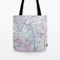 kansas city Tote Bags featuring Kansas city map by MapMapMaps.Watercolors