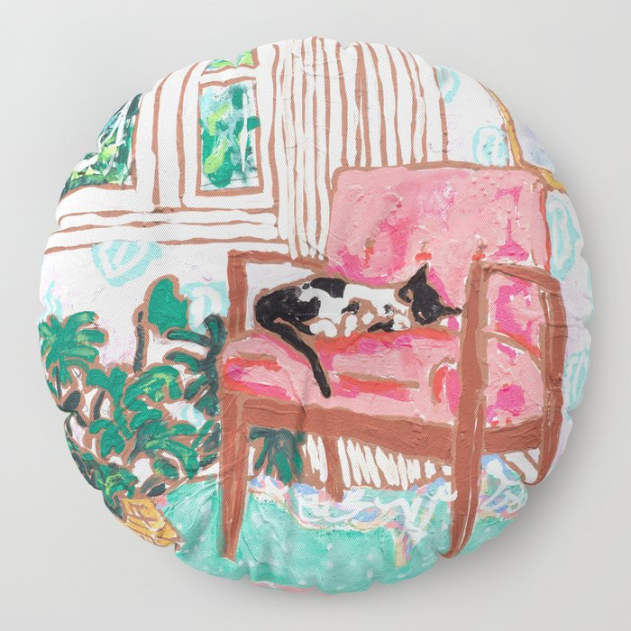 Little Naps - Tuxedo Cat Napping in a Pink Mid-Century Chair by the Window Floor Pillow