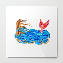 Pink-tailed mermaid Metal Print