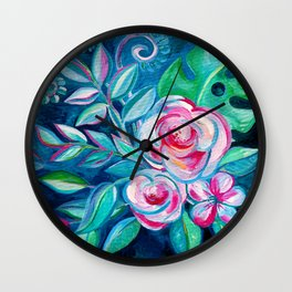 Tropical Camellia Extravaganza - oil on canvas Wall Clock