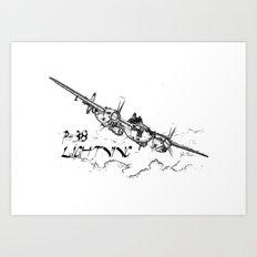 P-38 Lightning line drawing Art Print