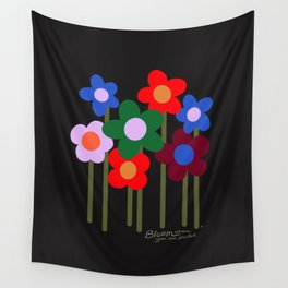 Bloom Where You Are Planted   black Wall Tapestry