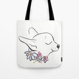 Sweet Chihuahua Dog with Flower Collar Tote Bag