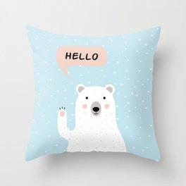Cute Polar Bear in the Snow says Hello Throw Pillow
