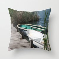 rowing Throw Pillows featuring Reeds, Rowing Boats and Old Jetty at Dalyan by taiche