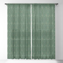 Art Deco in Gold & Green Sheer Curtain