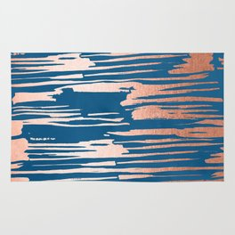 Tiger Paint Stripes - Sweet Peach Shimmer on Saltwater Taffy Teal Rug