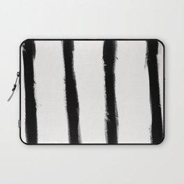 Medium Brush Strokes Vertical Black on Off White Laptop Sleeve