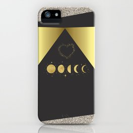 Faux Gold Moon Phases Gold Heart iPhone Case