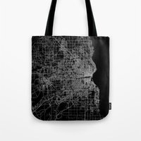 milwaukee Tote Bags featuring milwaukee map by Line Line Lines