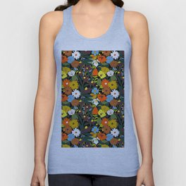 60's Swamp Floral in Midnight Black Unisex Tank Top