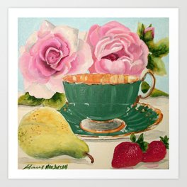 Teacup, Pear, and Pink Roses Art Print
