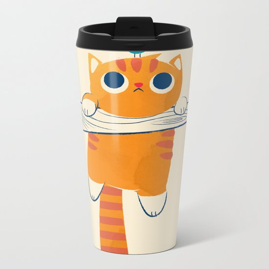 Fat cat, little bird Metal Travel Mug