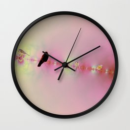 Birds on a wire pink Wall Clock