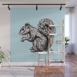 Blue Woodland Creatures - Squirrel Wall Mural