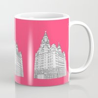 liverpool Mugs featuring Liverpool Liver Building  by sarah illustration