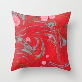 Red Marbled Throw Pillow