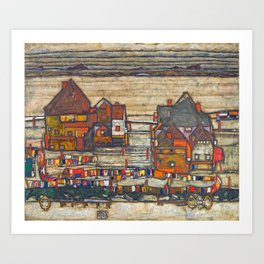 Egon Schiele - Houses with laundry (Suburb II) 1914 Art Print