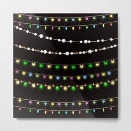 Colorful festive Christmas garland and beads . Metal Print
